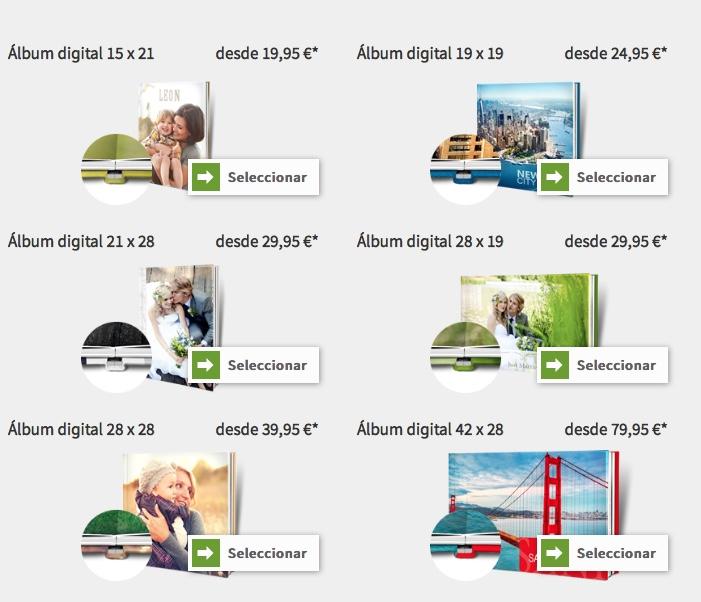 opciones de formatos del album de fotos saal digital