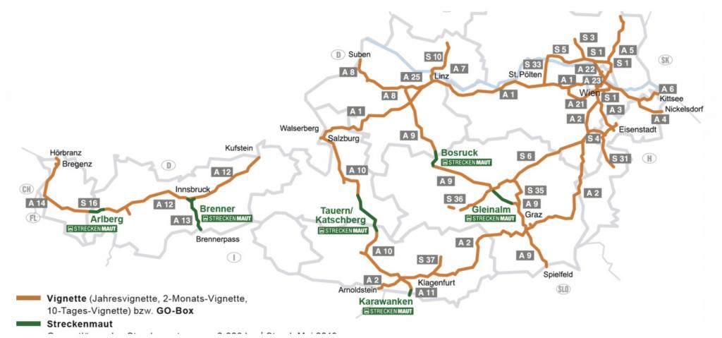 Autopistas y peajes especiales de Austria