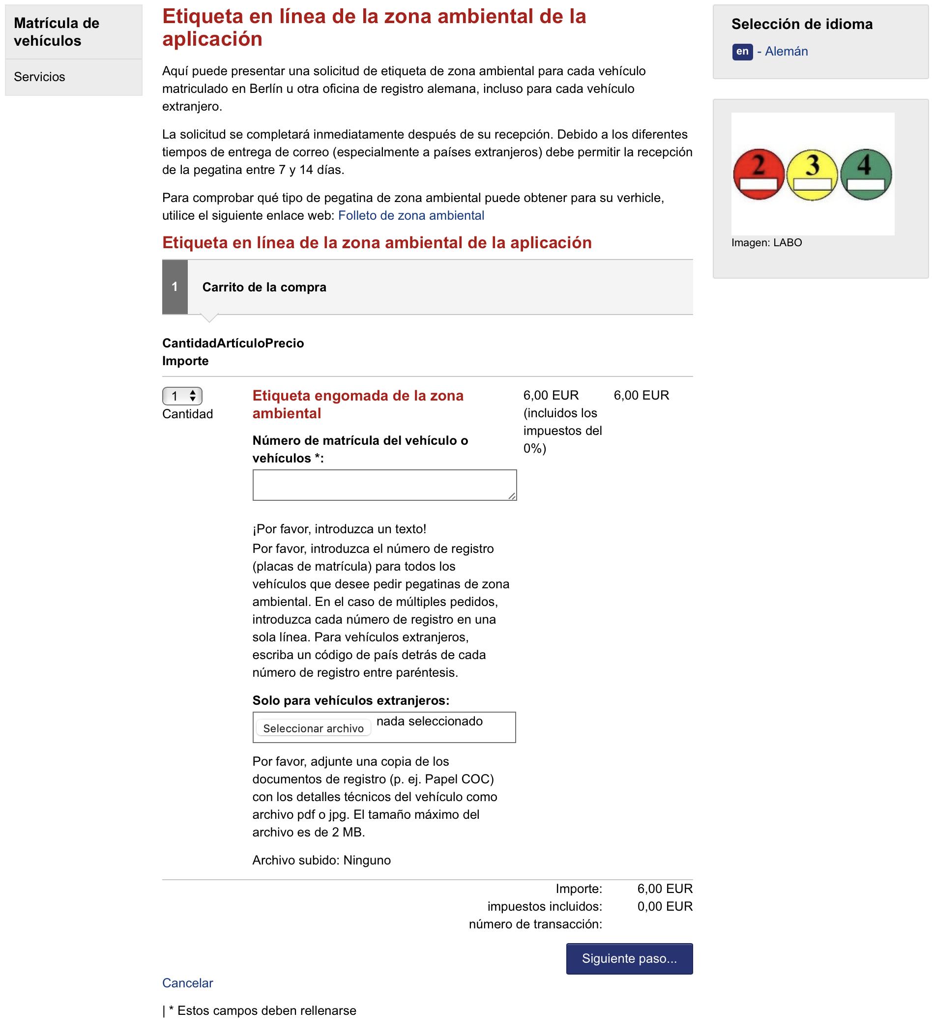 formulario para solicitar el distintivo ambiental para Alemania