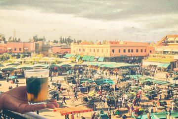 Marrakech - terraza, té y la plaza